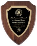 Genuine Walnut Shield  Plaque with Satin Finish Achievement Awards