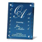 Clear Mirrored Backer with Blue Glass Artistic Glass Awards