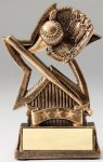 Star Series Sculpted Antique Gold Baseball Resin Trophy  Baseball Trophy Awards