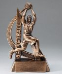 Ultra Action Series Sculpted Antique Gold Basketball - Female Resin Trophy  Basketball Trophy Awards