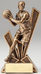 Checkmate Series Sculpted Antique Gold Basketball - Male Resin Trophy  Basketball Trophy Awards