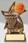 Star Series Sculpted Antique Gold Basketball Resin Trophy  Basketball Trophy Awards