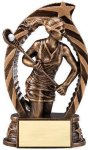 Antique Bronze and Gold Lacrosse, Female  Award Bronze and Gold Star Resin Trophy Awards