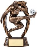 Bronze and Gold Soccer, Female Award Bronze and Gold Star Resin Trophy Awards