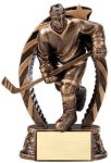 Antique Bronze and Gold Hockey  Male Award Bronze and Gold Star Resin Trophy Awards