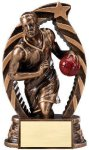 Antique Bronze and Gold Basketball, Male  Award Bronze and Gold Star Resin Trophy Awards