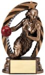 Antique Bronze and Gold Basketball, Female  Award Bronze and Gold Star Resin Trophy Awards