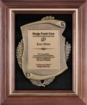 Genuine Walnut  Frame with Metal Casting on Black Velour Cast Relief Plaques