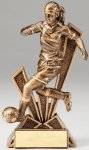 Checkmate Series Sculpted Antique Gold Soccer - Female Resin Trophy  Checkmate Series Sculpted Antique Gold Resin Troph