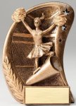 Curve Action Series Sculpted Antique Gold Cheer Resin Trophy  Cheerleading Trophy Awards