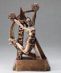 Ultra Action Series Sculpted Antique Gold Cheer - Female Resin Trophy  Cheerleading Trophy Awards