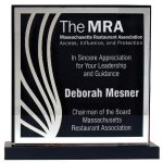 Deep Black Set Off By Silver On Acrylic  With A Black Screened Back Colored Acrylic Awards
