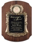 Genuine Walnut Plaque with Metal Casting Employee Awards