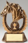 Premium Scultped Antique Gold Horse Head Wreath Resin Trophy  Equestrian Trophy Awards