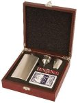 Rosewood Finish Flask Set Executive Gift Awards