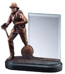 Fireman With Glass Firefighter Trophy Awards