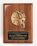 Piano Finish Plaque with Metal Casting Firefighter Trophy Awards
