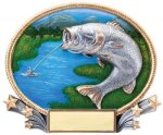 3D Oval Bass Fishing Trophy Awards