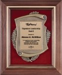 Genuine Walnut Frame with Metal Casting on Red Velour Frame Plaques