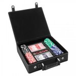 Leatherette Poker Gift Set  Black/Silver Game Gifts