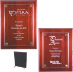 Rosewood Piano Finish Floating Plaque Glass Plaques