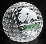 Clipped Golf Ball Golf Glass and Crystal Awards