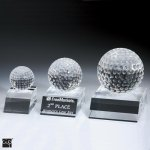 Desk Top Golf Ball Crystal Award Golf Glass and Crystal Awards