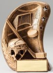 Curve Action Series Sculpted Antique Gold Hockey Resin Trophy  Hockey Trophy Awards