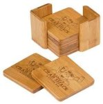 Bamboo 4 Coaster Set Kitchen Gifts