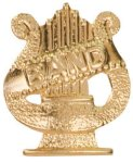Gold Band Metal Chenille Letter Insignia Music Trophy Awards