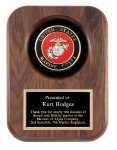 Walnut Marine Insignia Plaque Patriotic Awards