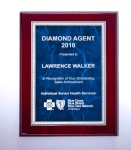 Rosewood High Lustr Plaque with Blue Marble Plate Piano Finish Plaques