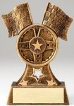 Premium Scultped Antique Gold Flags and Steering Wheel Resin Trophy  Premium Sculpted Resin Trophy Awards