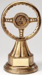 Premium Scultped Antique Gold Steering Wheel Resin Trophy  Premium Sculpted Resin Trophy Awards