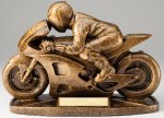 Premium Sculpted Antique Gold Racing Motorcycle Resin Trophy Premium Sculpted Resin Trophy Awards