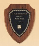 American Walnut Shield Plaque with a Black Brass Plate Recognition Plaques