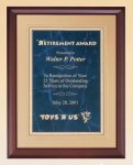 Cherry Finish Wood Plaque with Florentine Plate Sales Awards