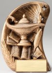 Curve Action Series Sculpted Antique Gold Lamp of Knowledge Resin Trophy  Scholastic Trophy Awards