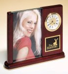 Rosewood Piano Finish Photo Desk Clock Secretary Gift Awards
