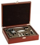 Rosewood Finish 5-Piece Wine Tool Set Secretary Gift Awards