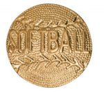 Gold Softball Metal Chenille Letter Insignia Softball Trophy Awards