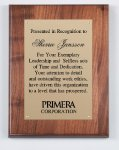 Genuine Walnut Plaque with Satin Finish Square Rectangle Awards