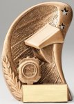 Curve Action Series Sculpted Antique Gold Swim Resin Trophy  Swimming Trophy Awards