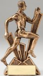 Checkmate Series Sculpted Antique Gold Track - Male Resin Trophy  Track Trophy Awards