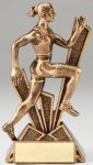 Checkmate Series Sculpted Antique Gold Track - Female Resin Trophy  Track Trophy Awards