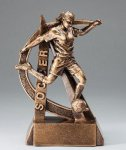 Ultra Action Series Sculpted Antique Gold Soccer - Female Resin Trophy  Ultra Action Resin Trophy Awards