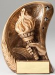 Curve Action Series Sculpted Antique Gold Victory Resin Trophy  Victory Trophy Awards