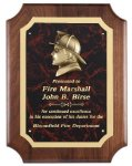 Genuine Walnut Plaque With Fireman Casting Walnut Plaques