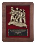 Genuine Walnut Plaque with Fireman Rescue Walnut Plaques