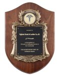 Genuine Walnut Plaque with Metal Casting with Black Engraving Plate Walnut Plaques